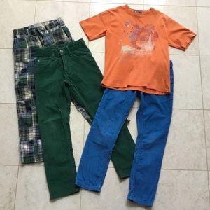 4 pc GAP corduroy & plaid pants RALPH LAUREN tee 7